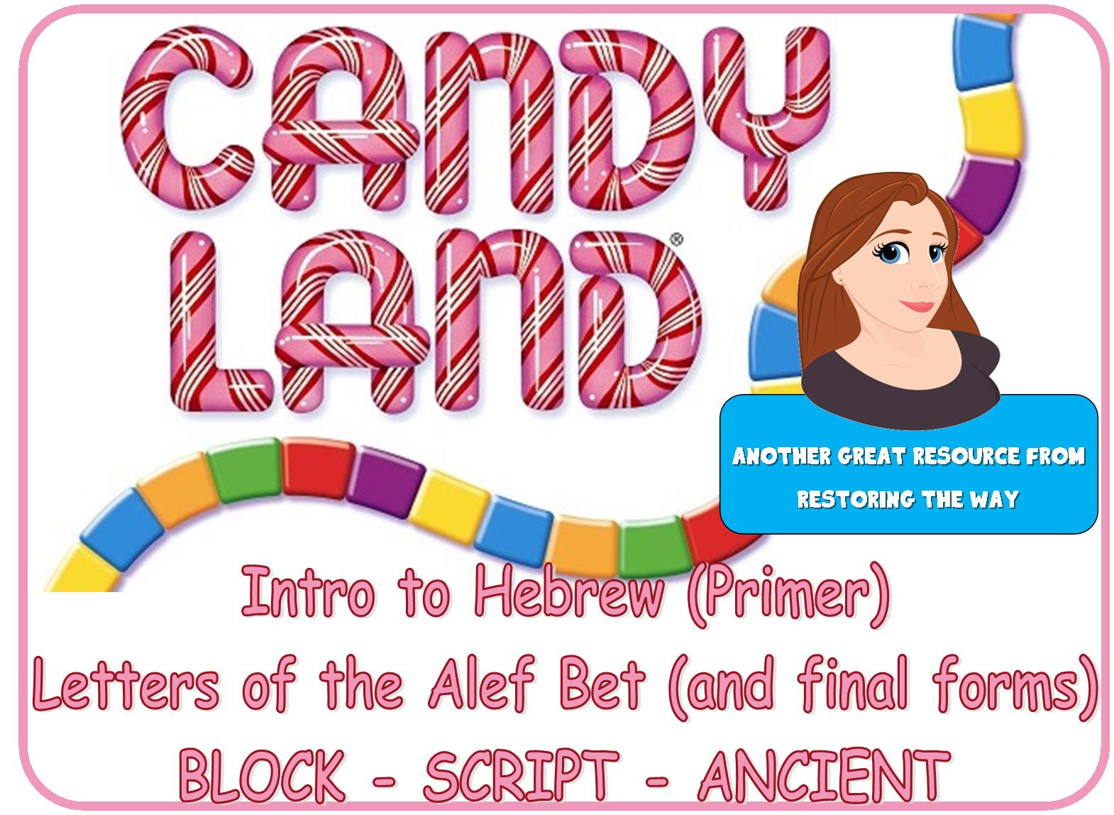picture about Candyland Letters Printable identified as Sweet LAND Structure Activity for Hebrew Alphabet Evaluate(block, script, and paleo)